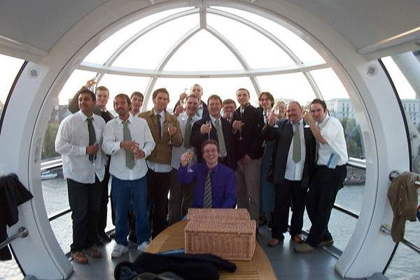 A Stag Party Aboard London Eye Ferris Wheel on the Banks of Thames River, London