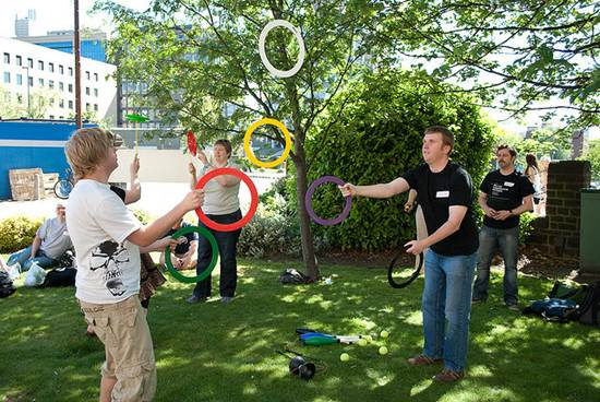 Juggling Circus Skills Practice Among Friends